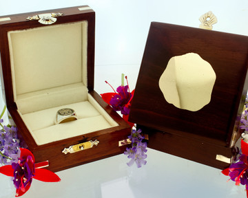 Wooden Ring Box with engraved cartouch to match your design