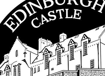 Section of hand drawn artwork for Edinburgh Castle in Scotland