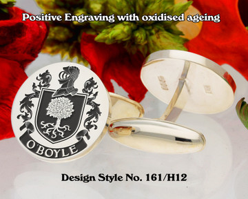 O'Boyle Family Crest Positive Engraving Cufflinks