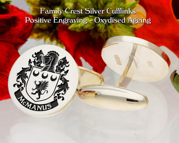 McManus Family Crest Cufflinks Oxidised Finish Positive Engraving
