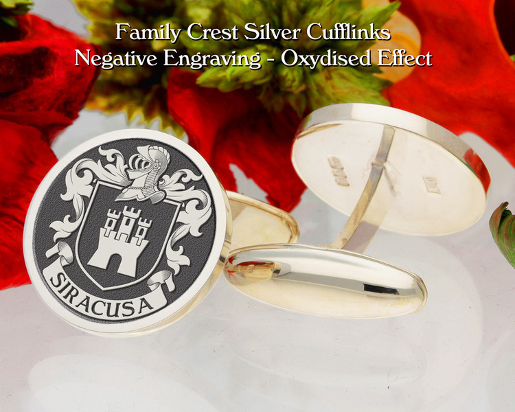 Siracusa  (Italy) Family Crest Cufflinks Negative Oxidised