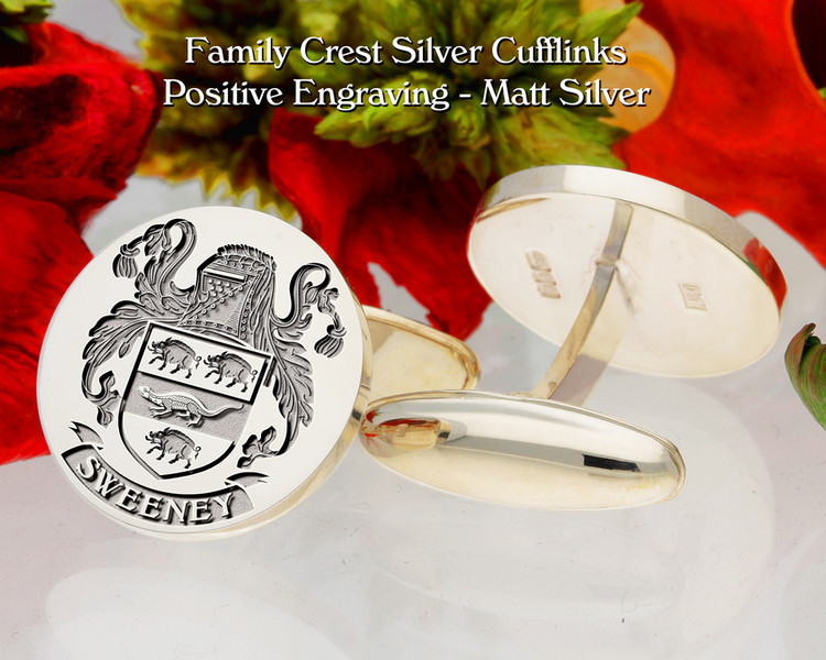 Sweeney Family Crest D2 Cufflinks
