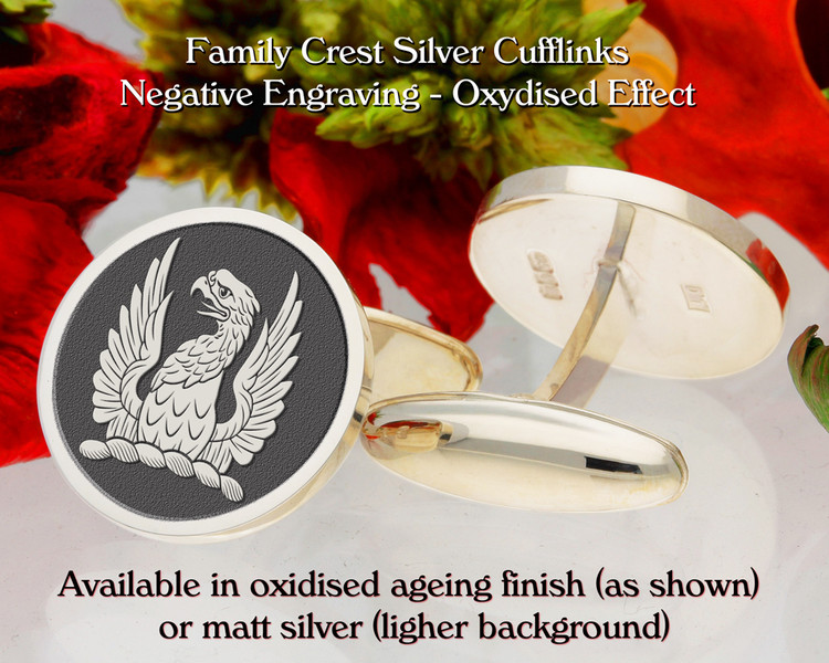 Grellier Crest Cufflinks Oxidised Negative