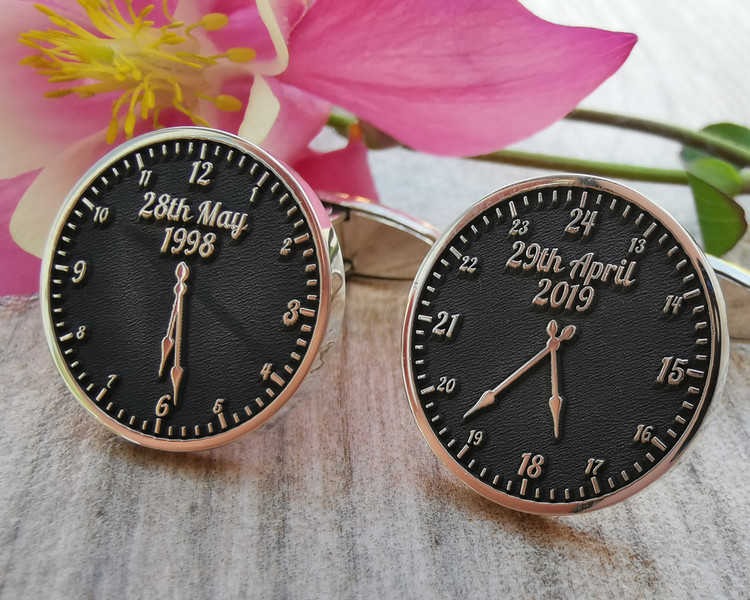 Bespoke Time and Date Clock Silver Cufflinks