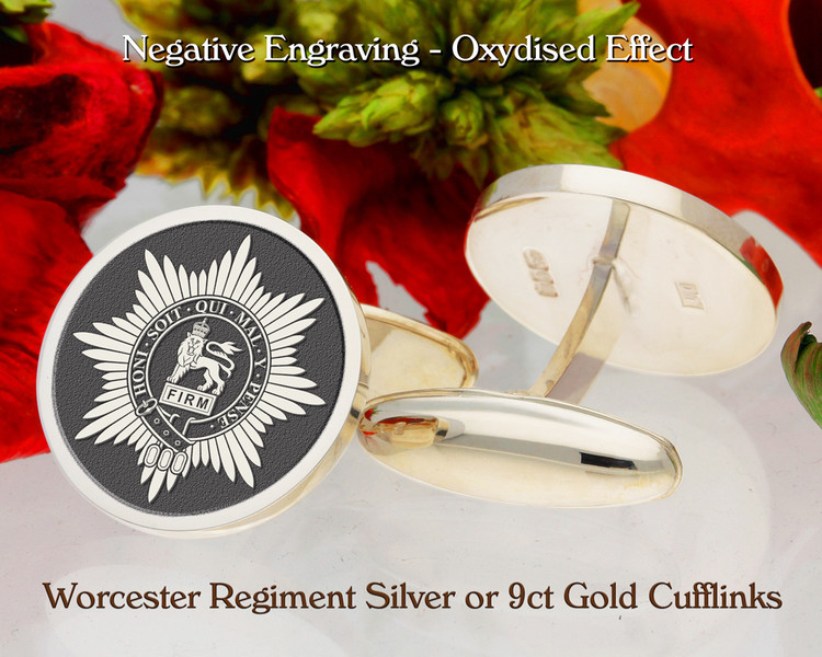 Worcester Regiment Army Silver or 9ct Gold Cufflinks