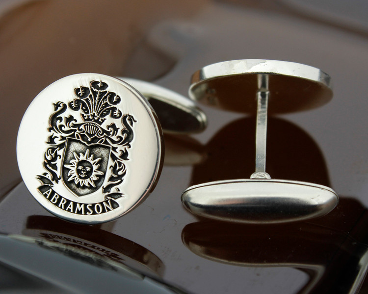 Abramson family crest mens silver cufflinks oxidised ageing finish. Design 7