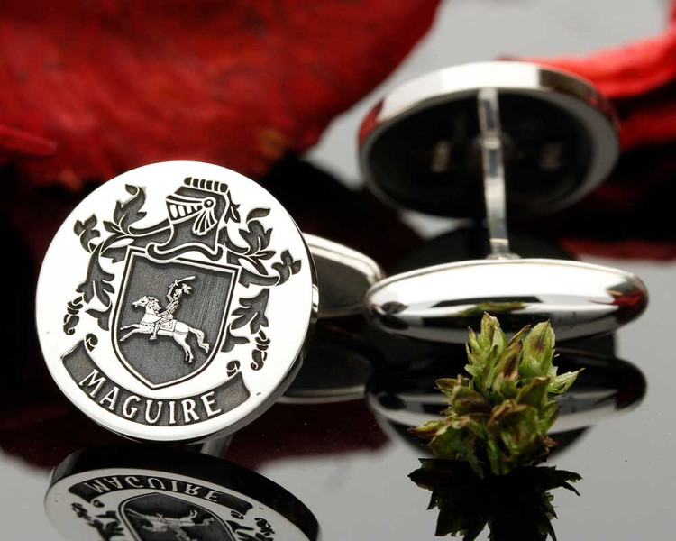 Maguire Family Crest Mens Silver Cufflinks with oxidised ageing. Design 6