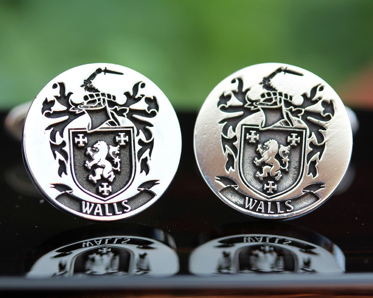 Walls Family Crest Mens Silver Cufflinks laser engraved with oxidised ageing