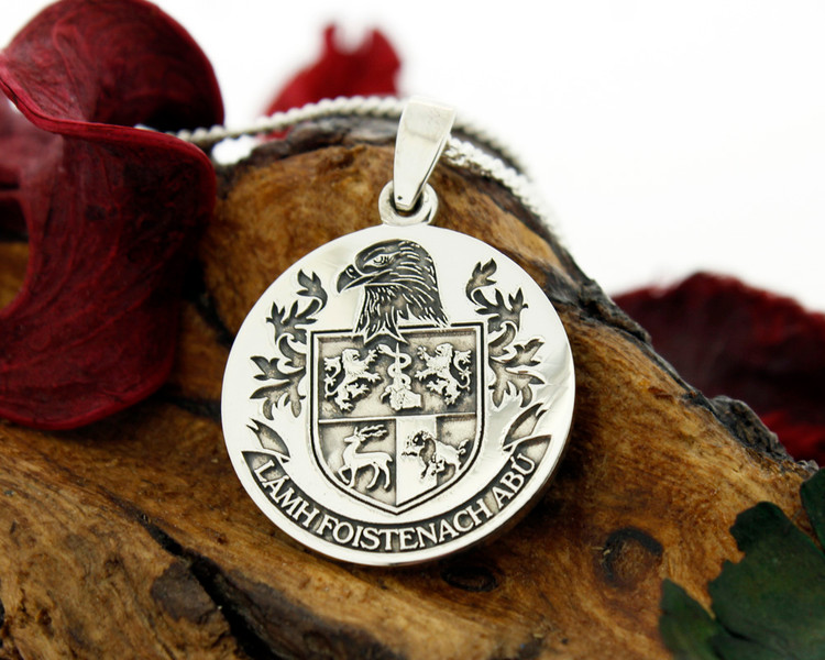 SULLIVAN Engraved pendant design,  also available for Silver Cufflinks