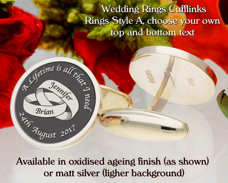 Wedding Rings Style A engraved cufflinks