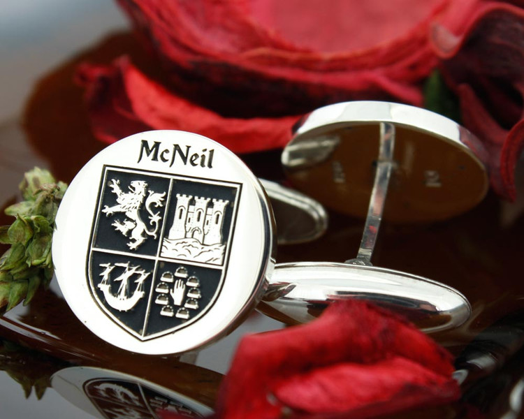 McNeil Family Crest Mens Silver Cufflinks with oxidised ageing effect Design 22