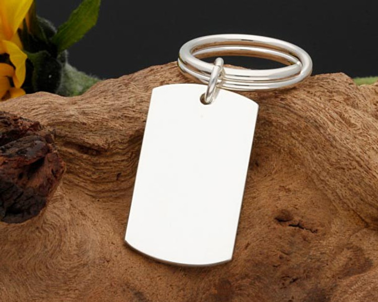 Solid Sterling Silver Keyring with silver split ring, weight 20g - Laser engraved with your own choice of design or text.