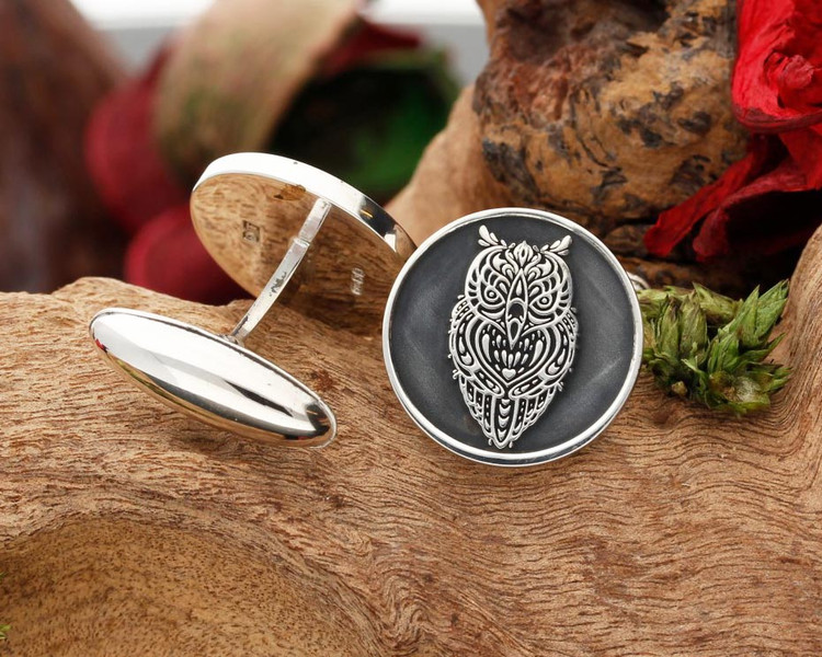 Tattoo Owl Design Laser Engraved Silver Cufflinks - Negative engraving with oxidised ageing