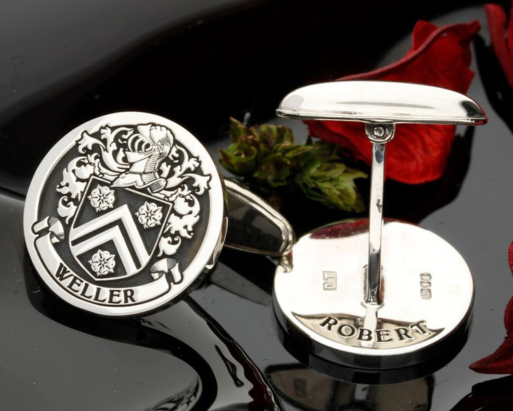 Weller Silver Mens Family Crest Cufflinks with oxidised ageing. Design 92