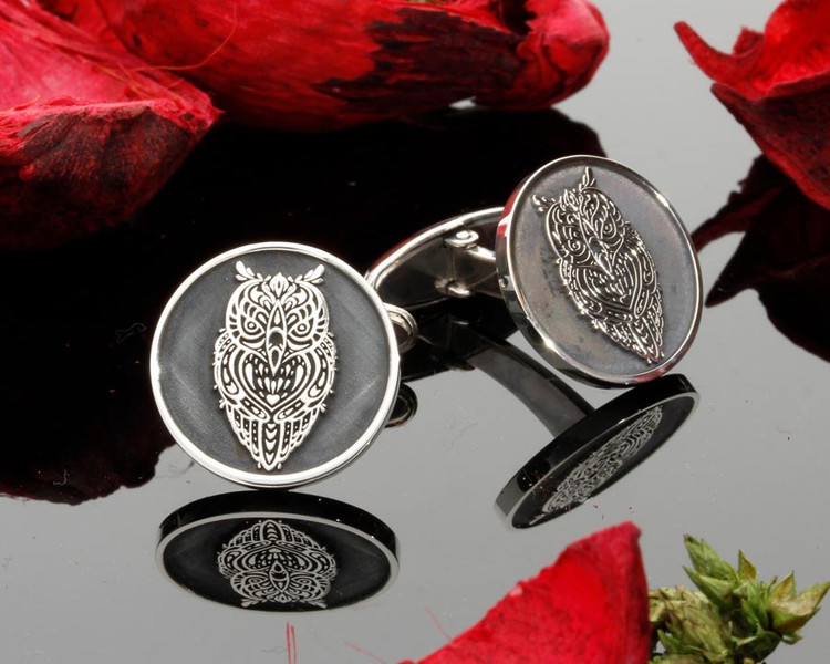 Owl engraved silver mens cufflinks laser engraved Negative Engraving