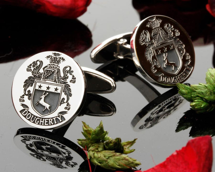 Dougherty family crest silver cufflinks