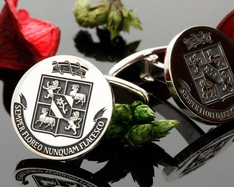De Sibert Family Crest Silver Cufflinks