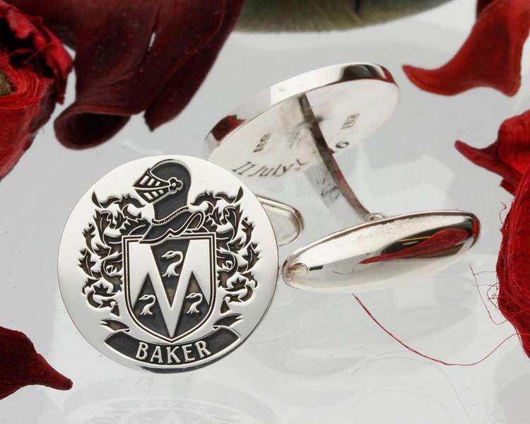 Baker Family Crest Silver Cufflinks Design 64