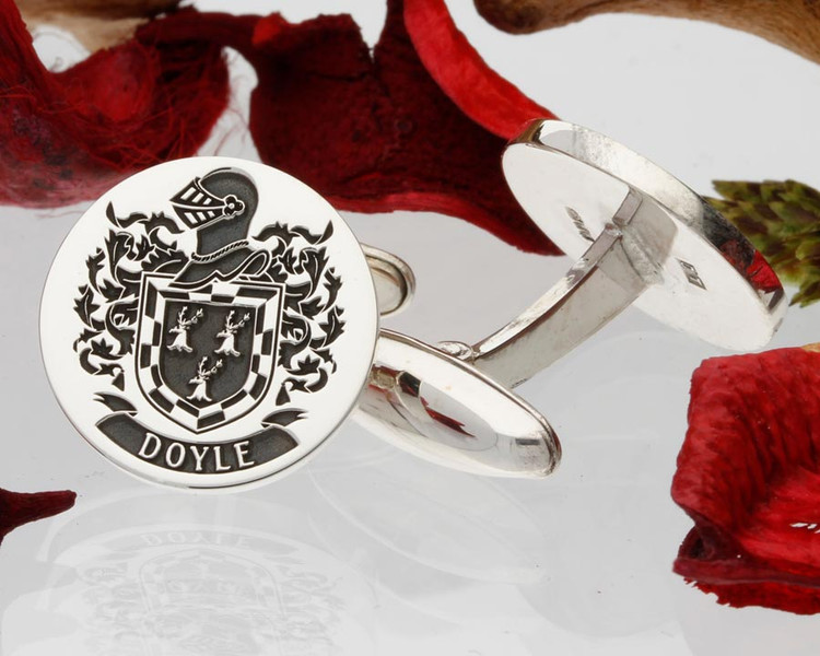 Doyle Family Crest Silver Cufflinks Design 64