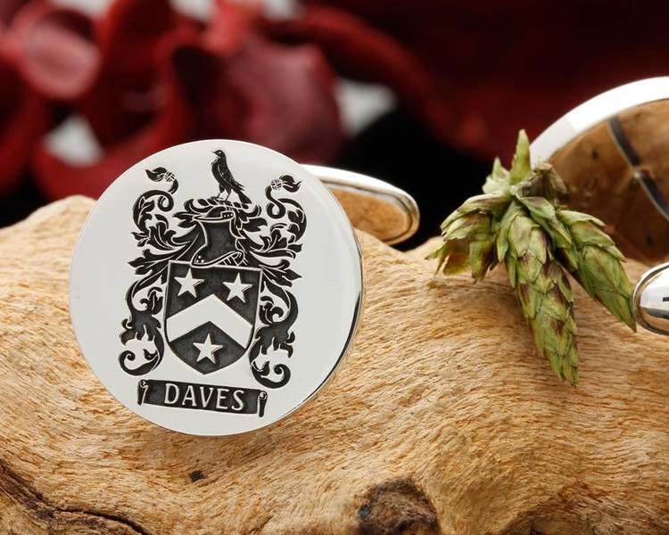 Daves Family Crest Engraved Silver Cufflinks