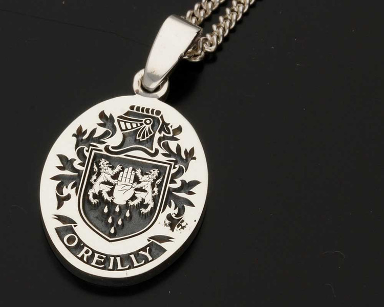 O'REILLY Family Crest Engraved Silver Pendant