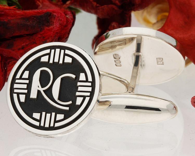 Art Deco Monogram RC cufflinks oxidised