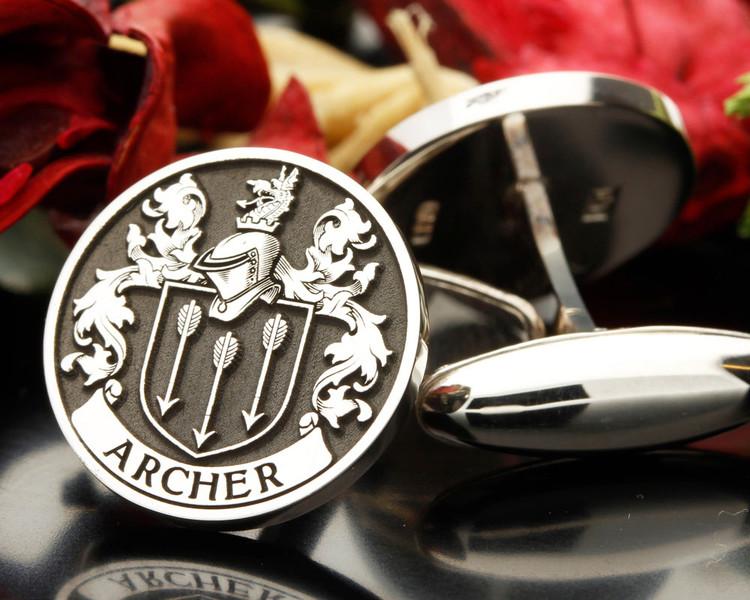 ARCHER family crest cufflinks, silver oxidised