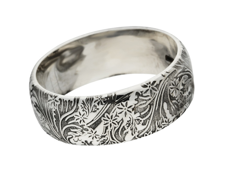 Leaf and Flower 01 Sterling Silver oxidised ageing finish