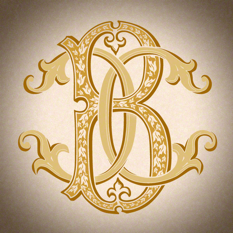 Victorian Monogram BC CB - hand drawn design, graphic design only - download