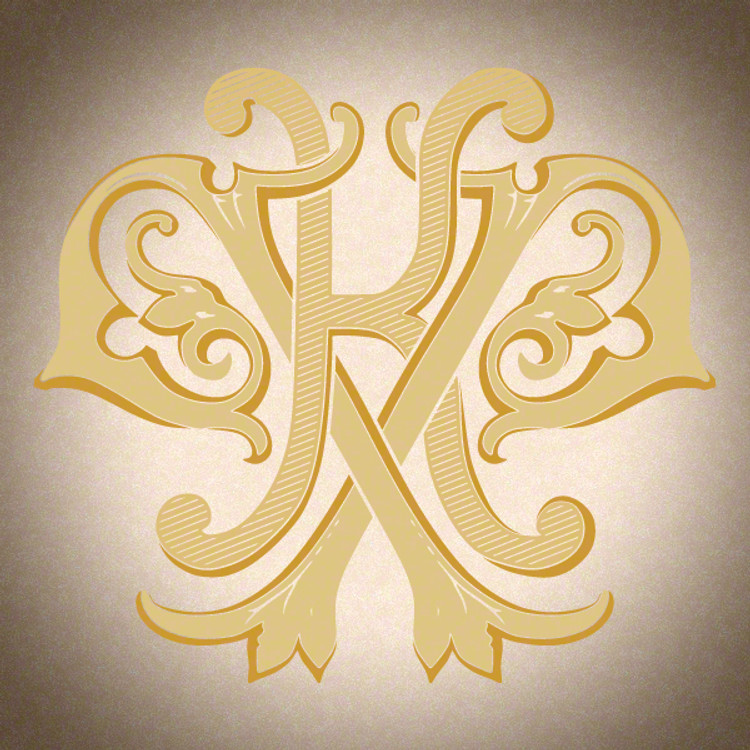 Victorian Monogram KP D2 - hand drawn design, graphic design only - download