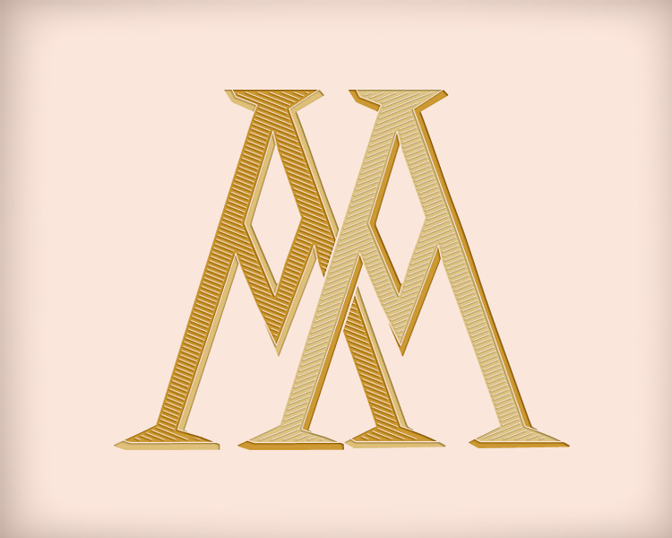 Victorian Monogram AA D2 - hand drawn design, graphic design only - download