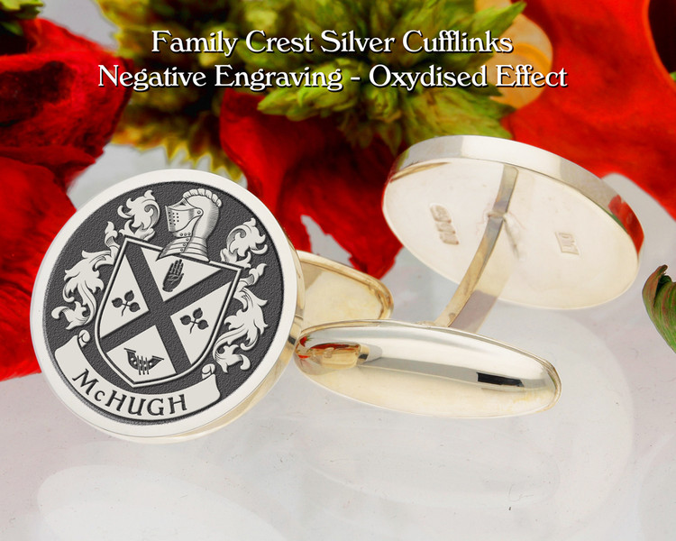 McHugh Family Crest Cufflinks - Oxidised Finish Negative Engraving