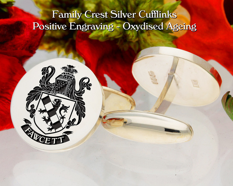 Fawcett Family Crest Cufflinks Oxidised Finish Positive Engraving