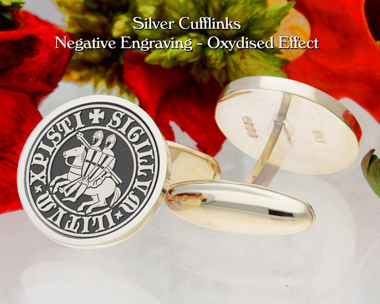 Knights Templar (Seal of the Soldiers of Christ) Cufflinks Negative Engraving