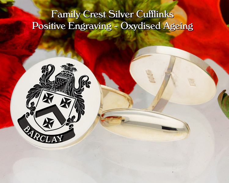Barclay Family Crest Cufflinks - Positive Engraving Oxidised