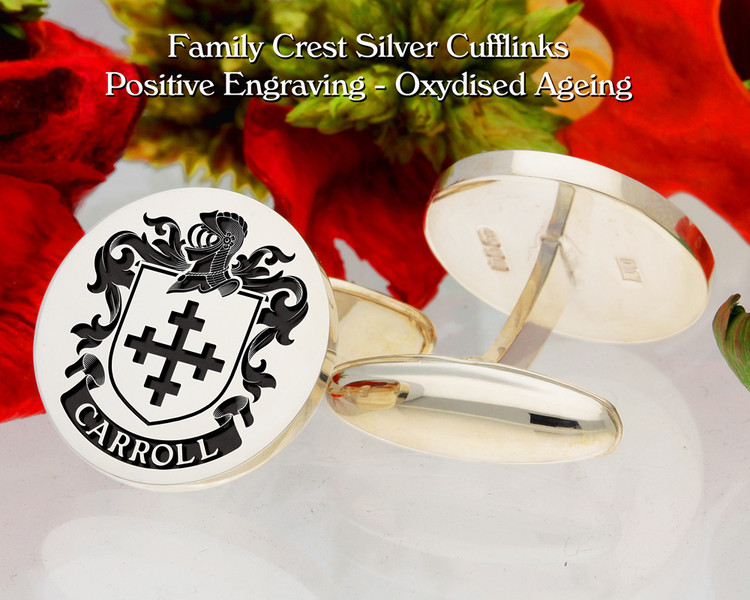 Carroll Family Crest Positive Oxidised