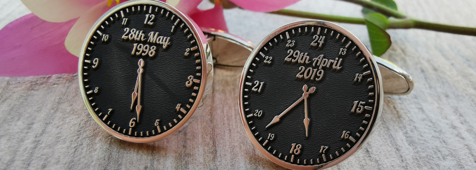 Date and Time Sterling Silver Personalised Cufflinks