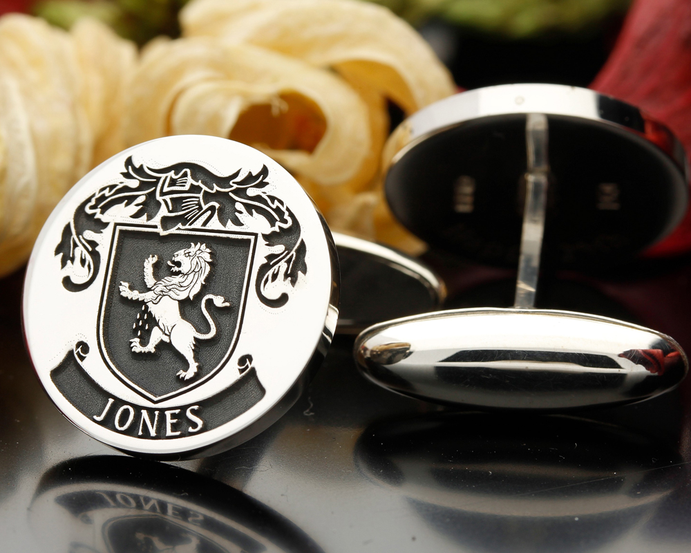 Select Gifts Jones Wales Family Crest Surname Coat Of Arms Gold Cufflinks Engraved Box