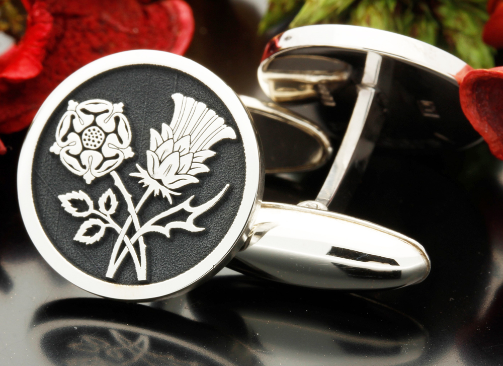 NEW SCOTTISH THISTLE  STERLING SILVER  CUFF LINKS