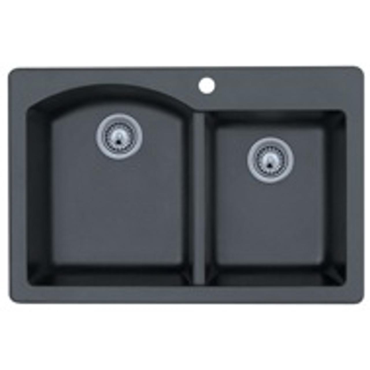 16 L x 18 H x 7.5 H Granito Swanstone QZBS-1816.076 Granite Dual Mount Single-Bowl Kitchen Sink
