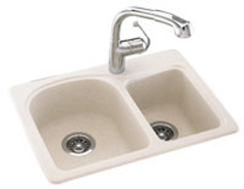 Swanstone KSDB-2518 Space Saver Double Bowl Sink - Solid Color