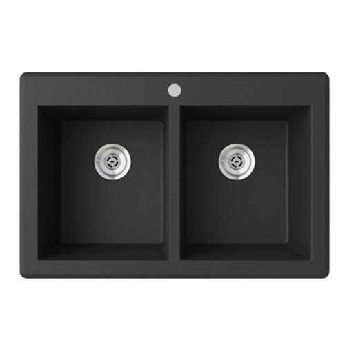 "Swanstone QZSQ-3322 Drop-In Equal Double Bowl Granite Kitchen Sink 33""W x 22""D"