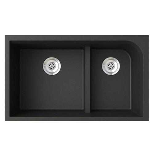 "Swanstone QULD-3322 Undermount Low Divide Double Bowl Granite Kitchen Sink 33""W x 22""D"