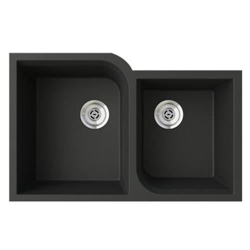 """Swanstone QURC-3322 Undermount Off-Set Double Bowl Granite Kitchen Sink 33""""W x 22""""D"""