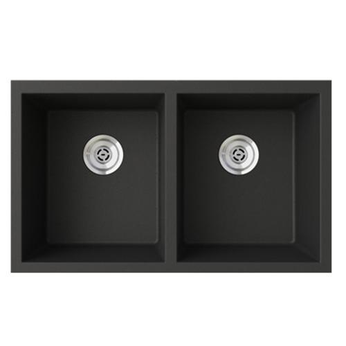 "Swanstone QUSQ-3322 SwanXpress Undermount Equal Double Bowl Granite Kitchen Sink 33""W x 22""D"
