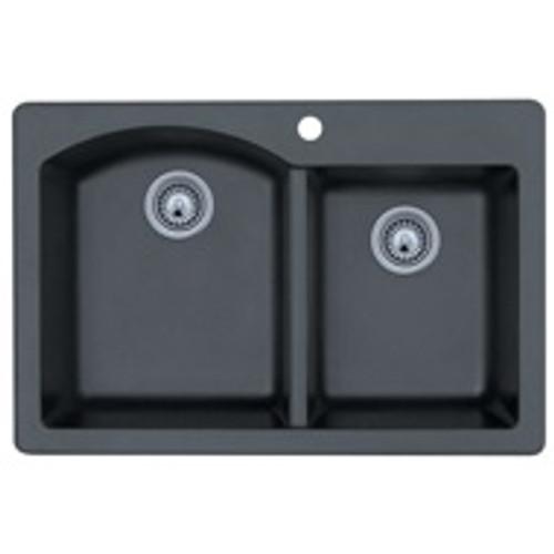 "Swanstone QZDB-3322 Drop-In Double Bowl Granite Kitchen Sink 33""W x 22""D"