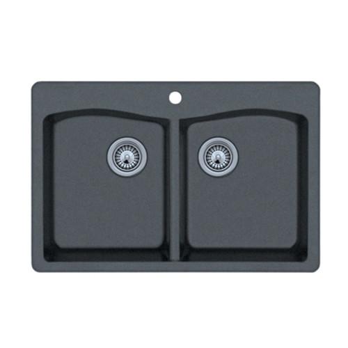 "Swanstone QZED-3322 Drop-In Even Double Bowl Granite Kitchen Sink 33""W x 22""D"