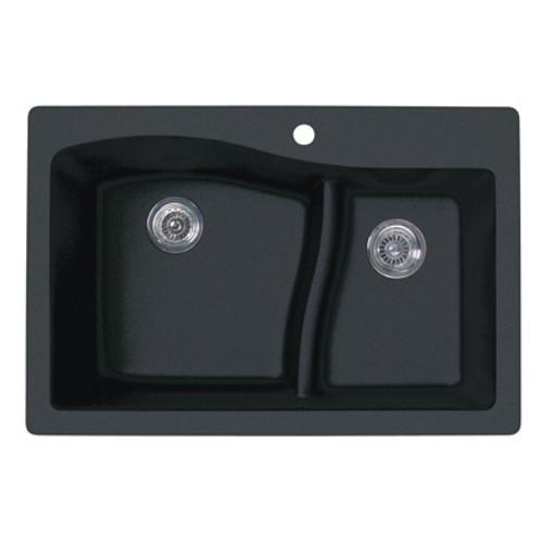 """Swanstone QZLS-3322 Drop-In Large/Small Bowl Granite Kitchen Sink 33""""W x 22""""D"""