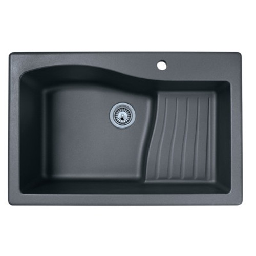 "Swanstone QZAD-3322 SwanXpress Drop-In Large Single Ascend Bowl Granite Kitchen Sink 33""W x 22""D"
