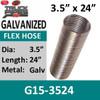 "3.5"" x 24"" .015 Galvanized Exhaust Flex Hose G15-3524"